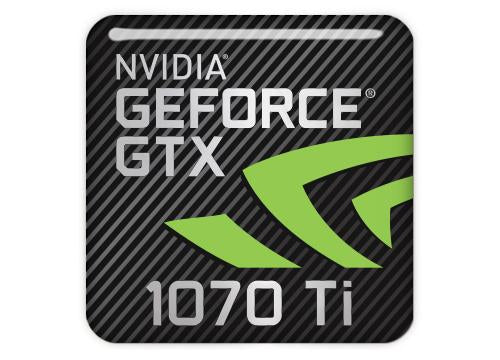 "nVidia GeForce GTX 1070 Ti 1""x1"" Chrome Effect Domed Case Badge / Sticker Logo"