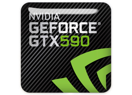 "nVidia GeForce GTX 590 1""x1"" Chrome Effect Domed Case Badge / Sticker Logo"