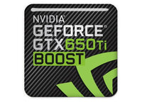 "nVidia GeForce GTX 650 Ti Boost 1""x1"" Chrome Effect Domed Case Badge / Sticker Logo"