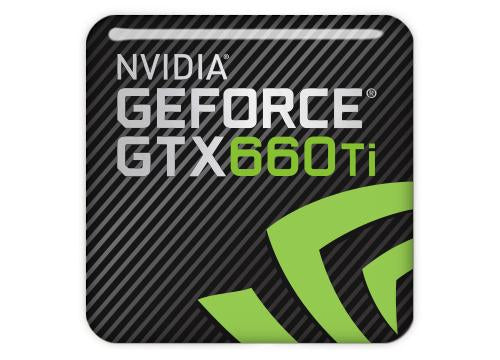 "nVidia GeForce GTX 660 Ti 1""x1"" Chrome Effect Domed Case Badge / Sticker Logo"