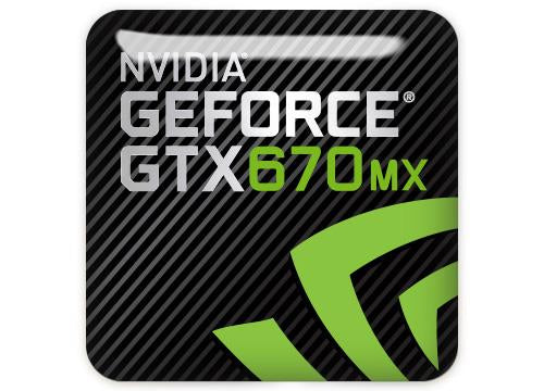 "nVidia GeForce GTX 670MX 1""x1"" Chrome Effect Domed Case Badge / Sticker Logo"