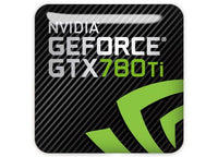 "nVidia GeForce GTX 780 Ti 1""x1"" Chrome Effect Domed Case Badge / Sticker Logo"