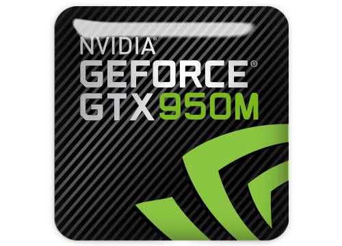 "nVidia GeForce GTX 950M 1""x1"" Chrome Effect Domed Case Badge / Sticker Logo"