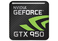 "nVidia GeForce GTX 950 1""x1"" Chrome Effect Domed Case Badge / Sticker Logo"