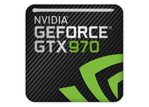 "nVidia GeForce GTX 970 1""x1"" Chrome Effect Domed Case Badge / Sticker Logo"