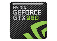 "nVidia GeForce GTX 980 1""x1"" Chrome Effect Domed Case Badge / Sticker Logo"