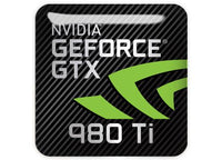 "nVidia GeForce GTX 980Ti 1""x1"" Chrome Effect Domed Case Badge / Sticker Logo 980 Ti"