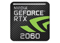 "nVidia GeForce RTX 2060 1""x1"" Chrome Effect Domed Case Badge / Sticker Logo"