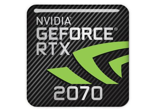 "nVidia GeForce RTX 2070 1""x1"" Chrome Effect Domed Case Badge / Sticker Logo"