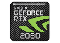 "nVidia GeForce RTX 2080 1""x1"" Chrome Effect Domed Case Badge / Sticker Logo"