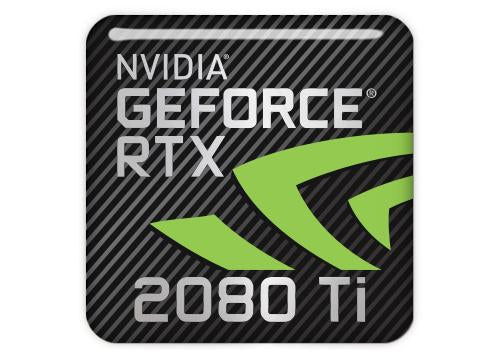 "nVidia GeForce RTX 2080 Ti 1""x1"" Chrome Effect Domed Case Badge / Sticker Logo"