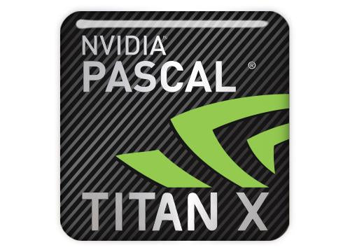 "nVidia Pascal Titan X 1""x1"" Chrome Effect Domed Case Badge / Sticker Logo"