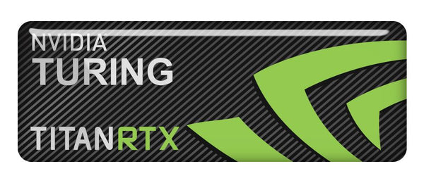 "nVidia Turing Titan RTX 2.75""x1"" Chrome Effect Domed Case Badge / Sticker Logo"