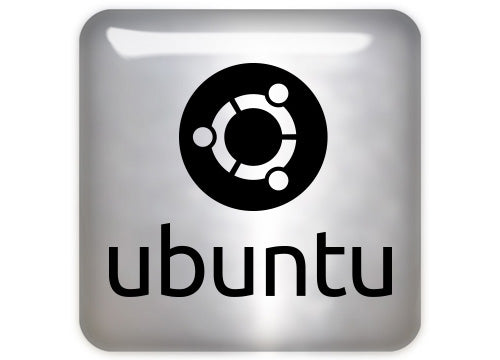 "Ubuntu Black Design #1 1""x1"" Chrome Effect Domed Case Badge / Sticker Logo"