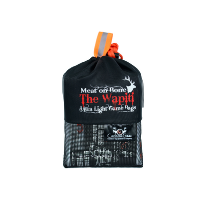 The Wapiti Game Bag system by Caribou Gear® Designed for the backcountry hunter for elk sized game. Ultralight weight, Durable, reusable, & has light reflective tabs. Best game bag for elk hunters