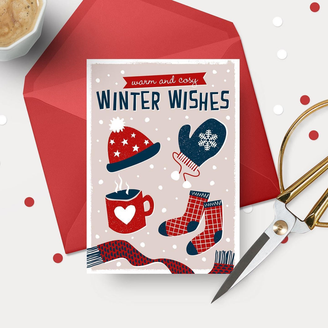 Warm & Cosy Winter wishes! FSC paper - Scandi style luxury Christmas card