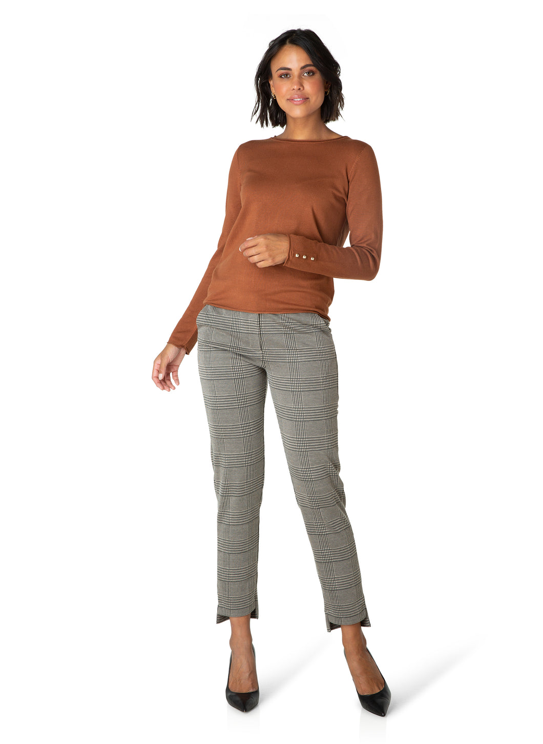 Knit with Sleeve Detail - Dark Camel