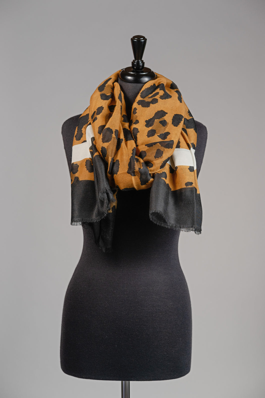 Leopard Print Scarf with Ivory Detail