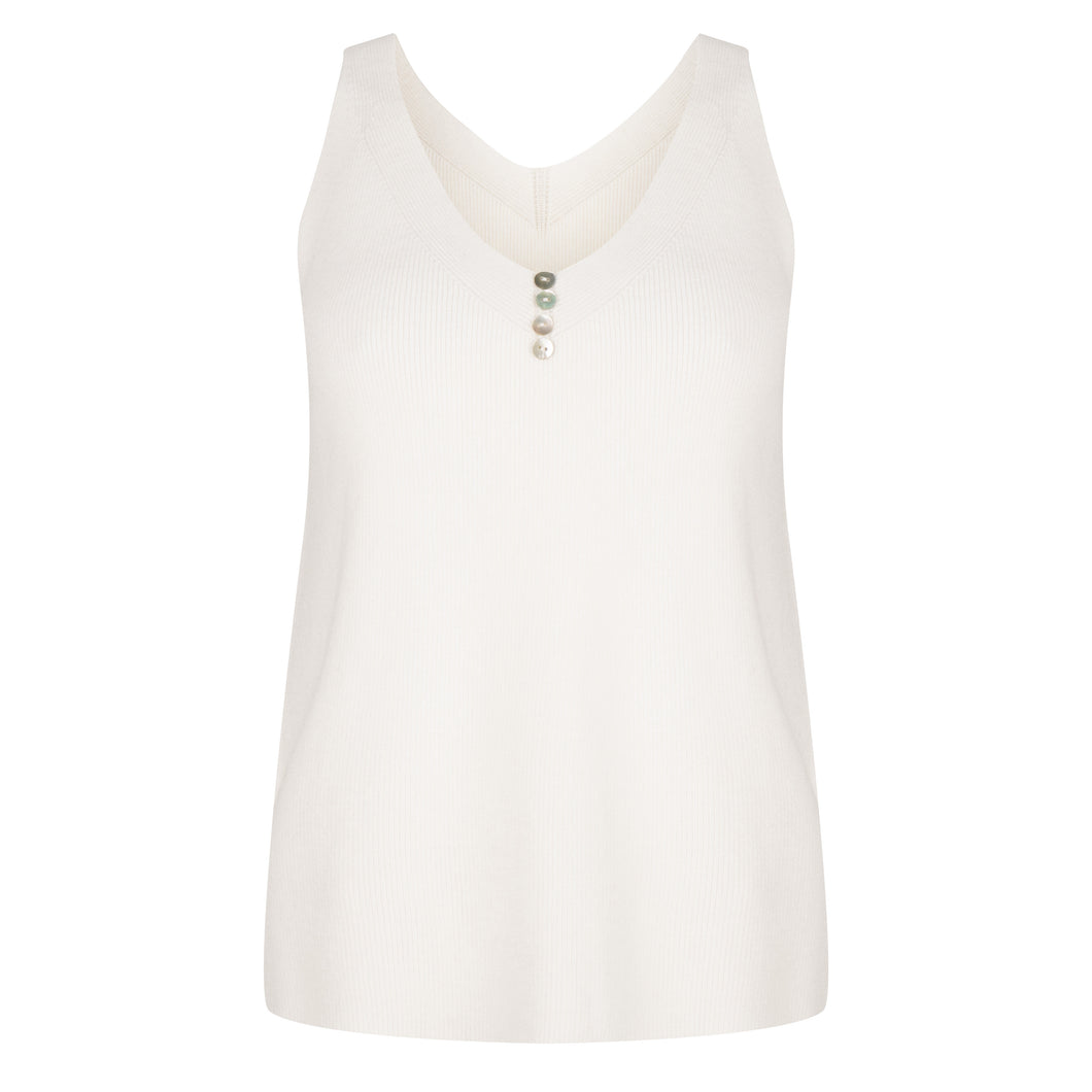 Knit Button Camisole - Off White