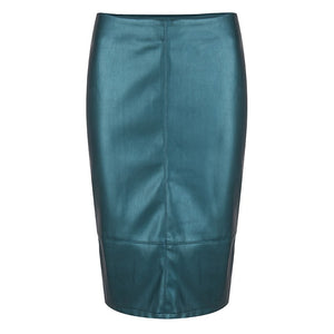 Faux Leather Pencil Skirt - Teal