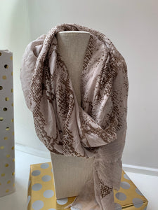 Neutral Snake Print Scarf