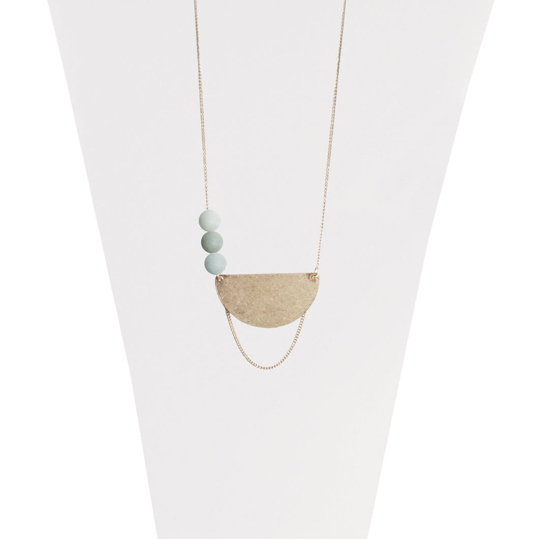 Long Necklace with Natural Stones - Aqua