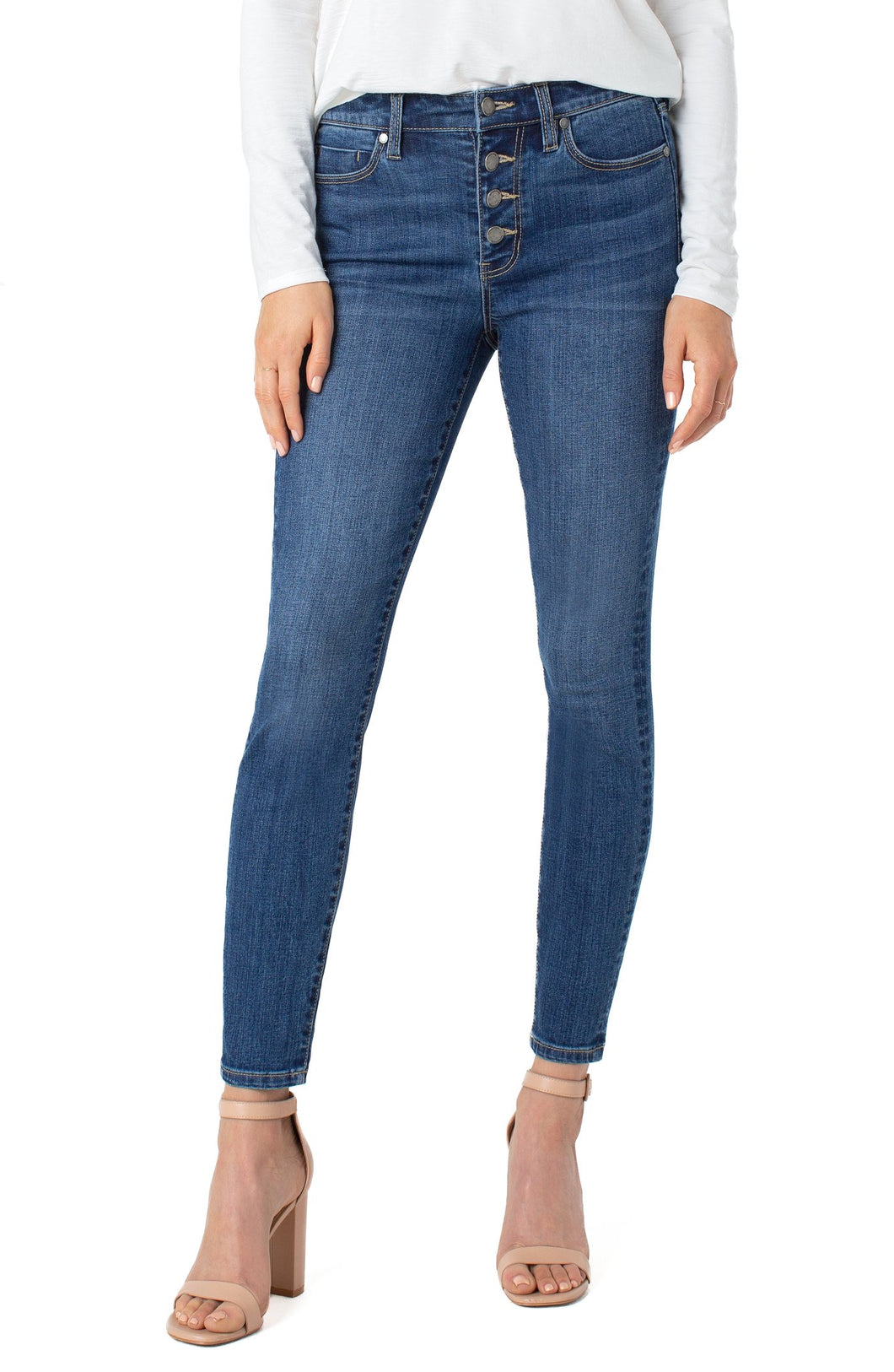 Abby Ankle Skinny Jean with Buttons