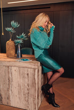 Load image into Gallery viewer, Faux Leather Pencil Skirt - Teal