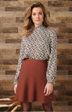Load image into Gallery viewer, Knit Flared Skirt- Cognac