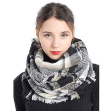 Load image into Gallery viewer, Plaid Woven Infinity Scarf