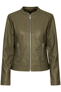 Faux Leather Jacket - Olive Night