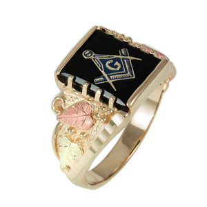 Mens Onyx Black Hills Gold Masonic Ring - Fortune And Glory - Made in USA Gifts