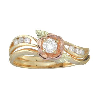 Seven Diamond Rose Black Hills Gold Ring - Fortune And Glory - Made in USA Gifts
