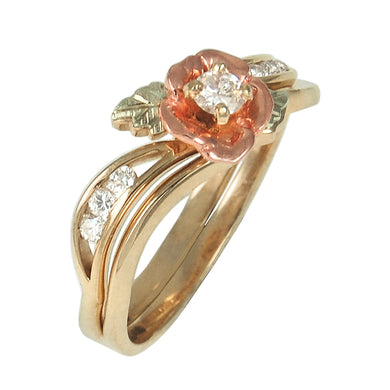 Seven Diamond Rose Black Hills Gold Ring - Jewelry