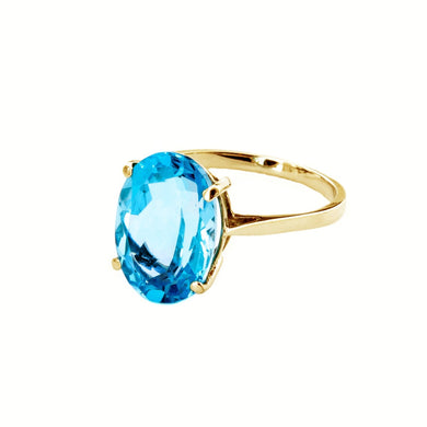 14 Karat Yellow Gold Natural Oval Blue Topaz Ring