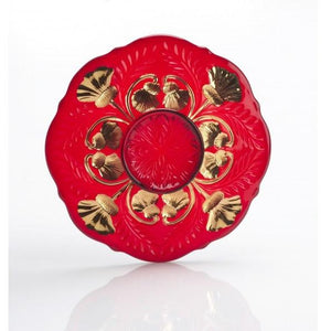 Inverted Thistle Glass Dessert Plate - 4 Color Options