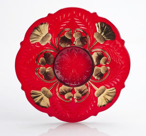 Inverted Thistle Glass Egg Plate - 4 Color Options - Red Decorated - Baby Gifts