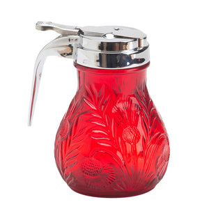 Inverted Thistle Glass Syrup Pitcher - 4 Color Options