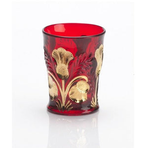 Inverted Thistle Glass Tumbler - 4 Color Options - Red Decorated / 1 Glass - Baby Gifts