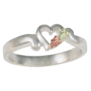 Sterling Silver Black Hills Gold Single Heart Ring - Fortune And Glory - Made in USA Gifts