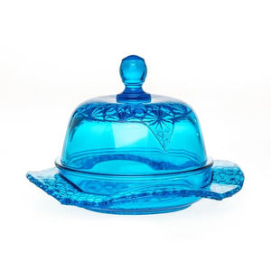 Queen Set Glass Butter Dish - 2 Color Options - Colonial Blue - Baby Gifts
