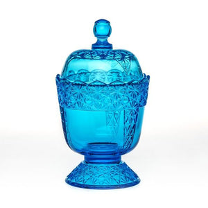 Queen Set Glass Sugar Bowl - 2 Color Options - Colonial Blue - Baby Gifts