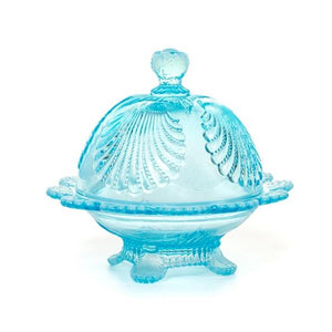 Shell Glass Butter Dish - 3 Color Options - Aqua Opal - Baby Gifts
