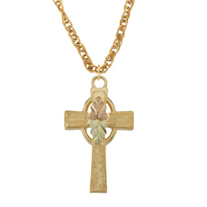 Traditional Black Hills Gold Cross Pendant & Necklace - Jewelry