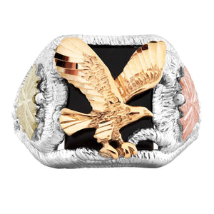 Men's Sterling Silver Black Hills Gold Onyx Eagle Ring V