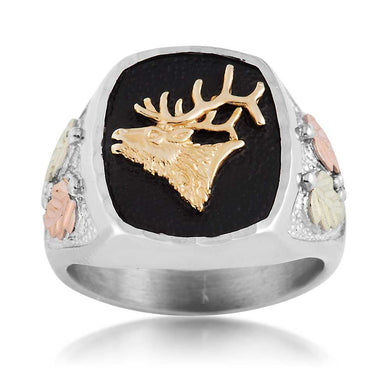 Men's Sterling Silver Black Hills Gold Elk Ring