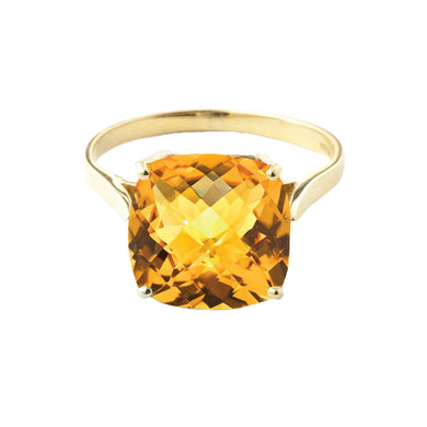 14 Karat Yellow Gold Checkerboard Cut Natural Citrine Ring