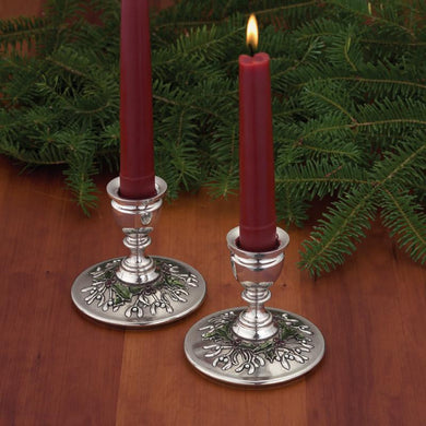 Mistletoe and Holly Candlestick