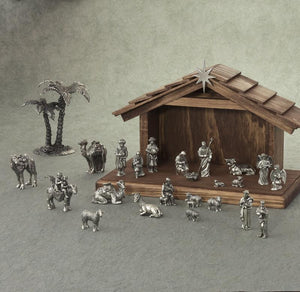 Pewter Nativity Set with Manger - Indoor Decor