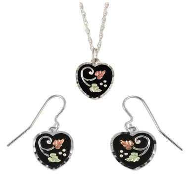 Sterling on Black Hills Gold Antiqued Hearts Earrings & Pendant Set - Fortune And Glory - Made in USA Gifts